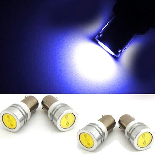 Genssi 5050 5SMD BA9 BA9S 53 57 1895 64111 1815 T11 Bayonet LED Bulbs Blue for License Plate Car Wedge Side Marker Light (Pack of 4) ()