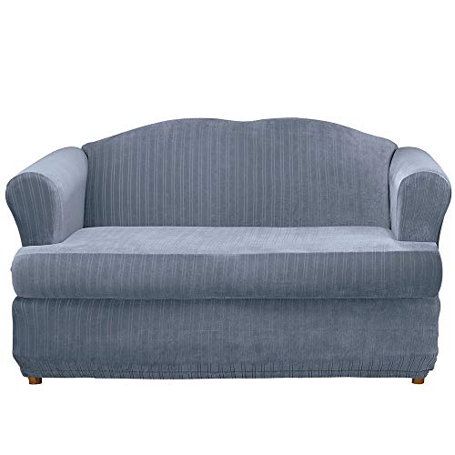 SureFit Stretch Pinstripe 2-Piece - Sofa Slipcover - French Blue (Furniture Kohls Chairs)