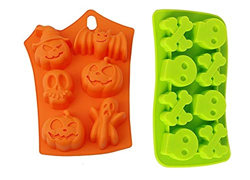 Joinor Set of 2 Silicone Fondant Halloween Candy/Ice / Cake/Chocolate Molds - Party Supplies with Pumpkins Skulls Crossbones Ghosts Bats Random -