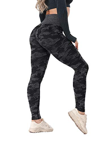 RIOJOY Womens High Waisted Seamless Leggings Workout Gym Tight Camo Yoga Pants