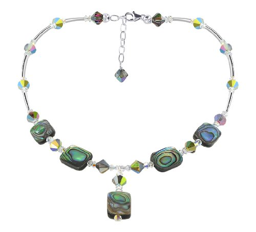925 Sterling Silver Dyed Abalone Necklace 18 inch with, used for sale  Delivered anywhere in USA