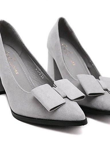 GGX/ Damenschuhe-High Heels-Outddor / Lässig-Vlies-Blockabsatz-Absätze-Schwarz / Grau gray-us5 / eu35 / uk3 / cn34