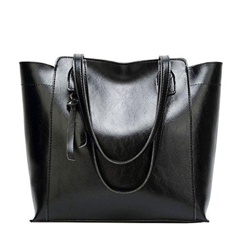 Estilo de la vendimia muchacha de las mujeres del color sólido de bolsos de cuero con cremallera de cierre decoraciones para colgar bolsas de mano Negro