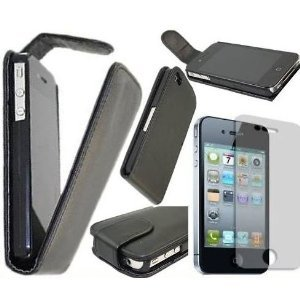 Badboyz Platinum Range nero clip on Flip Case/cover/custodia con supporto telefono per Apple iPhone 44G HD + proteggi schermo facile da applicare in omaggio