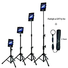 Raking Floor Height Adjustable 360 Rotating Tripod Tablet Mount Stand with Telescoping Post and Carry Case, Black (4-Section Tripod)