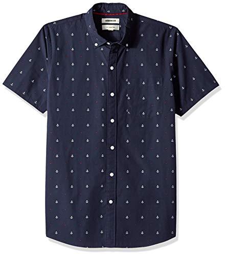 Spring Pattern Oxford - Goodthreads Men's Slim-Fit Short-Sleeve Dobby Shirt, -navy anchor, Large
