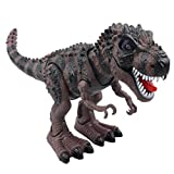 SY WonderPlay Tyrannosaurus T-Rex Dinosaur with Lights and Realistic Sounds Action Figure Toy - Light Up Eyes, Awesome Sounds - Walks on Its Own! - Great Gift Boys 3+,Battery Operate (Brown)