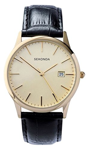Sekonda Men's Quartz Watch with Beige Dial Analogue Display and Black Leather Strap (Mens Analogue Quartz Watch)