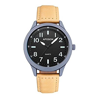 Aposon Mens Analog Quartz Watch Casual Business work Watches for Men Water-resistant Business Casual Wrist Dress Wristwatch Key Scratch Resistant Mirror Glass Face