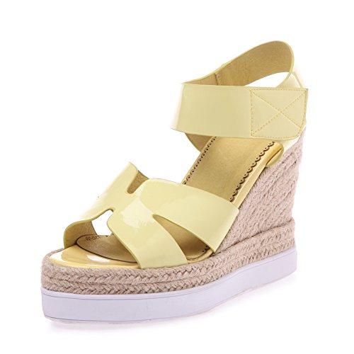 AalarDom Mujeres Charol Velcro Puntera Abierta Plataforma Sólido Sandalia Amarillo
