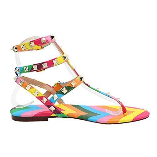 (MERUMOTE Women's Rivets Studs Strap Flats Summer Daily Buckle Flat Sandals 125-Colorful 6 US)