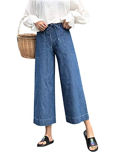 Yeokou Women's Loose High Waist Wide Leg Culottes Palazzo Jeans Pants Trousers (Medium, Blue)