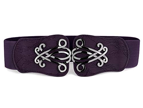 uxcell Women Elastic Cinch Belt Metal Buckle Flower Decor Leather Width 2.4 Inches Purple L