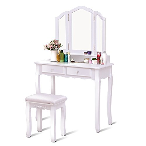 Giantex Tri Folding Mirror Bathroom Vanity Makeup Table Stool Set Home Furni With 4 Drawers (Mirrored Set Bench)