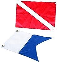 2Pcs Dive Boat Flag+Diver Down Flag Snorkeling Scuba Diving Accessories
