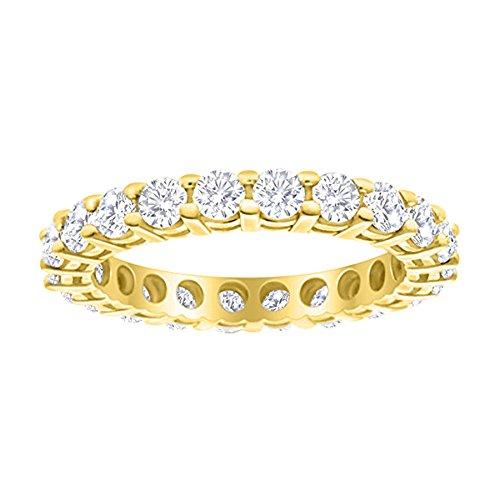 Brilliant Diamond Round Ring Eternity - 1 Carat (ctw) 14K Yellow Gold Round Diamond Ladies Eternity Wedding Anniversary Stackable Ring Band Value Collection