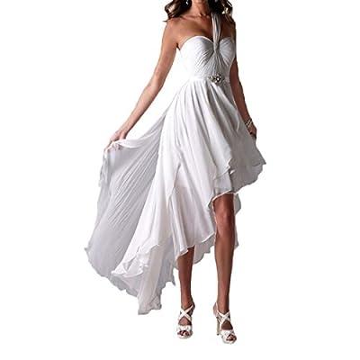 XPLE One Shoulder High Low Short Front Long Back Beach Beaded Chiffon Wedding Dresses Bride Gowns D014
