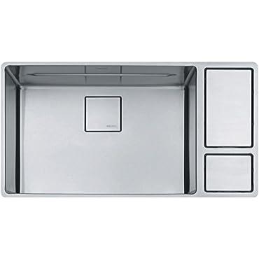 Franke CUX11024-W Chef Center 33 5/8 x 19 x 9 18-Gauge Undermount Single-Bowl Kitchen Sink Kit inch, Stainless Steel