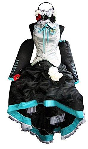 Mtxc Women's Vocaloid Cosplay Costume Hatsune Miku Inbetweening Ver. Dress Size X-Large Black -