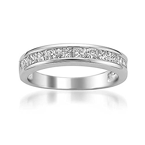 Natural Diamonds of NYC Platinum Princess-Cut Diamond Bridal Wedding Band Ring (1 cttw, G-H, VS2) in Size 8.5