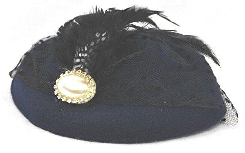 Miniature Pill Box Pillbox Hat Fascinator - Navy Blue (Mini Hat With Veil)