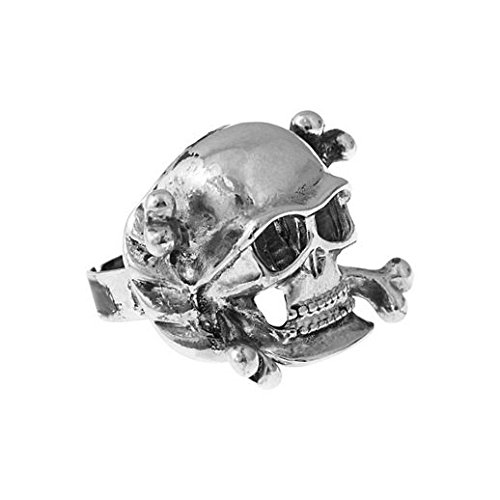 Deluxe Adult Costumes - Men's pewter vintage style skull pirate ring