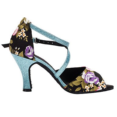 XIAMUO Anpassbare Damen Tanz Schuhe Satin/funkelnden Glitter Satin Latin/Salsa Sandalen angepasste Ferse Innen, Schwarz, UNS 6,5-7/EU 37/ UK 4,5-5/CN 37