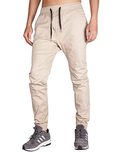 (ITALY MORN Men's Chino Jogger Pant (XS, Cream Khaki))