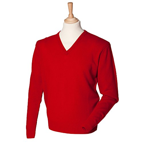 henbury-mens-lambswool-v-neck-long-sleeve-sweater-classic-red-l