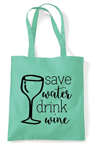 Shopper Statement Mint Drink Tote Wine Bag Water Save qSAYxZw