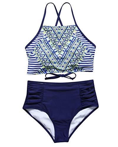 MOSHENGQI Bikini Swimsuits Top Ruffled Tiered Ruched High Waisted Two Piece Bathing Suits for Women (Medium,Navy Blue01) ()