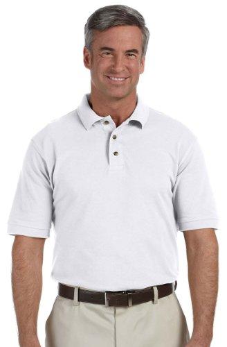 Harriton mens 6 oz. Ringspun Cotton Pique Short-Sleeve Polo(M200)-WHITE-4XL