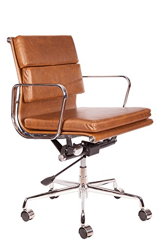 Vintage Premium Caramel Brown PU Leather Soft Pad Executive Management Office Replica Chair Swivel and Polished Aluminium Frame - Low Back