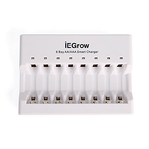 iEGrow 8-Bay AA AAA Battery Charger for Ni-MH Ni-CD Rechargeable Household Batteries with LED Indicator