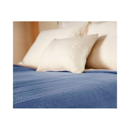 Sunbeam Heated Electric Blanket Quilted Fleece Royal Dreams King Dusty Blue