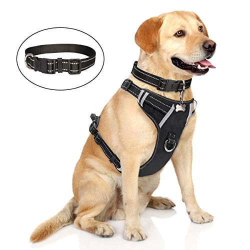 WINSEE Dog Harness No-Pull, Pet Harness with Dog Collar, Adjustable Reflective Oxford Material Outdoor Vest, Front/Back Leash Clips for Medium, Large, Extra Large Dogs, Easy Control for Walking, Black