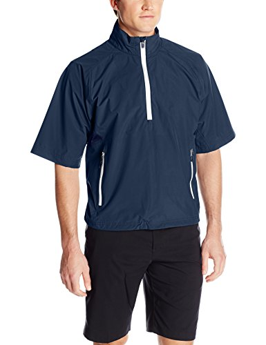 Zero Restriction Men's Half-Sleeve Quarter Zip Power Torque Rain Jacket, Navy/White, Large (Power Torque)