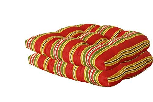 Bravada Seat - [SewKer] Indoor/Outdoor Wicker Seat Cushion, set of 2- Stylish Bravada Salsa 3610