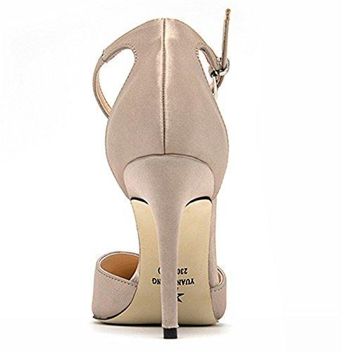 Pompes De Talon Chaussures Partie La Beige De Chaussures Dames Satin Bracelet Aiguille Cheville À Cour Robe De Pointu Bout Mariée 755wTf