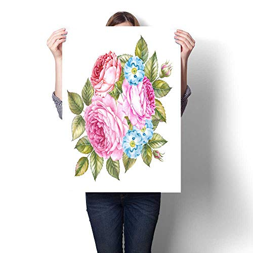 Anshesix Canvas Wall Art Bouquet of Roses Flowers Vintage Watercolor Botanical Illustration Invitation Card for Wedding Birthday and Other Holiday and Summer Background Art Stickers 20