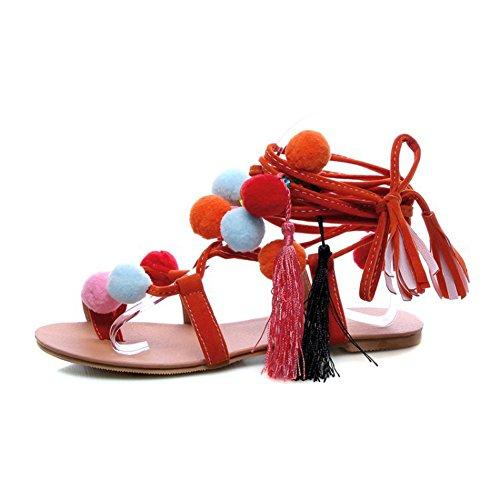 Cystyle Damen Sandalen Freizeit Regenbogenball-Stil Sandalen Sommer Schuhe Flats Riemchen biegsame Gummisohle Gr. 34-46 Orange
