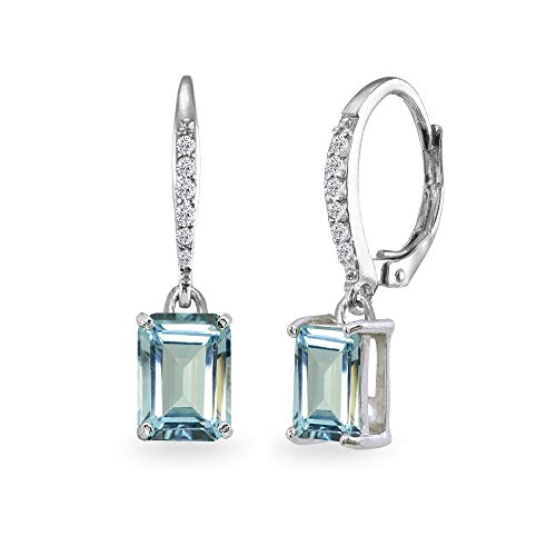 Sterling Silver Blue Topaz & Cubic Zirconia 8x6mm Octagon-cut Polished Dangle Leverback Earrings