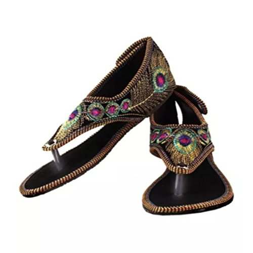 Golden Handcrafted Indian Robot Handmade Jutti Rajwari Purely Ethnic Leather Shoes Traditional dw1nZCq