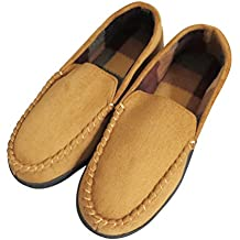LA PLAGE Men's Anti-Slip Indoor/Outdoor Microsuede Moccasin Slippers With Hardsole