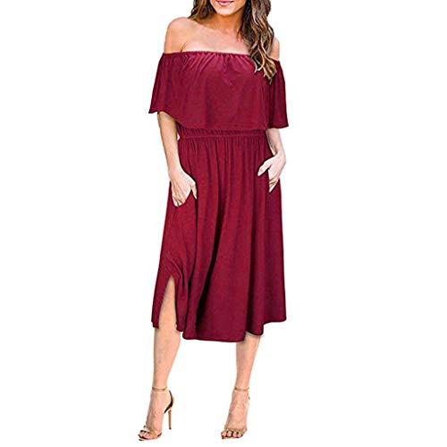 Caopixx Womens Off The Shoulder Ruffle Party Dresses Side Split Beach Maxi Dress with Pockets Wine -