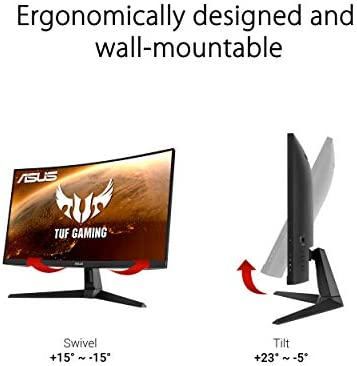 "ASUS TUF Gaming VG27VH1B 27"" Curved Monitor, 1080P Full HD, 165Hz (Supports 144Hz), Extreme Low Motion Blur, Adaptive-sync, UnfastenedSync Premium, 1ms, Eye Care, HDMI D-Sub, BLACK"