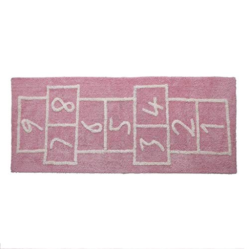 Square Game Rug for Kids Cotton Handmade Non-Slip Mat Checkers Carpet Home Decor 75×180 cm (Color : ()