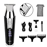 Hair Clippers for Men, Hair Trimmer Professional Cordless Hair Cutting Kit Beard Trimmer, RENPHO Rechargeable Haircut Kit with T-Blade LED Display for Lining and Artwork