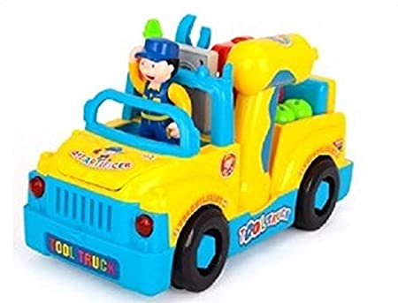 RAINBOW TOYFROG Take Apart Tool Truck: Educational Construction Preschool Toy Automatically Rides with Sounds & Lights - Includes Electric Power Drill & Building Tools for Assembling- For Age 3+ Yrs