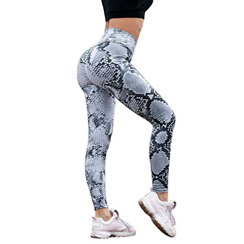 (Dressin Serpentine High Waist Leggings Women Mesh Leather Yoga Pants High Waist Tummy Control Yoga Pant)
